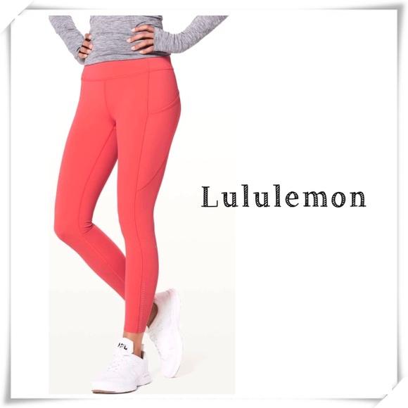 Lululemon Fast & Free 7/8 Tight Leggings Orange